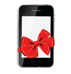Abstract design mobile phone with red bow and vector image