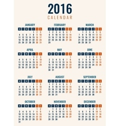 Calendar for 2016 Week Starts Monday Simple vector image vector image