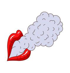female lips smoking flat isolated vector image