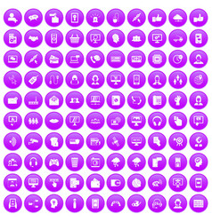100 contact us icons set purple vector
