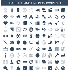 100 play icons vector image