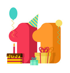 11 year greeting card birthday 11th anniversary vector