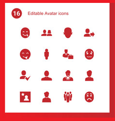 16 avatar icons vector image