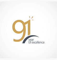 91 year excellence template design vector image