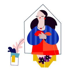 a female interior designer with vector image