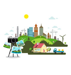 abstract city with retro camera vector image