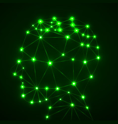 abstract polygonal head with glowing dots and vector image