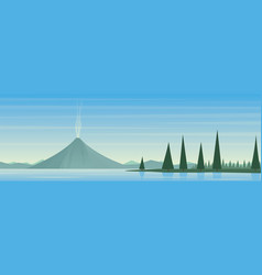 Active volcano and lake landscape scene vector