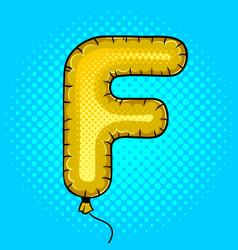 Air balloon in shape letter f pop art vector