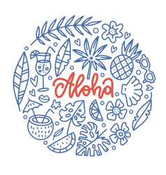 aloha tropical paradise banner template with vector image