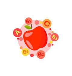 apple fruit vitamins vector image