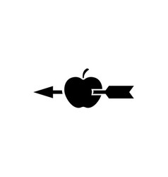 Apple shot with arrow flat icon vector