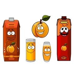 Apricot juice containers and fruit characters vector image