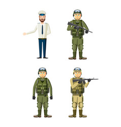 army man icon set cartoon style vector image