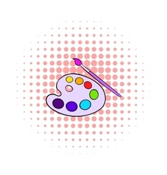 Art palette with paint brush icon comics style vector