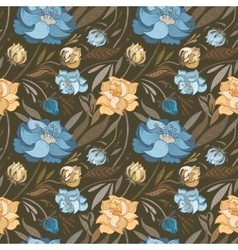Autumn Brown Floral Pattern vector image