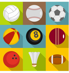 ball icons set flat style vector image