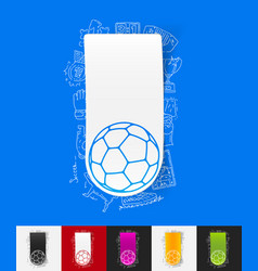 Ball paper sticker with hand drawn elements vector