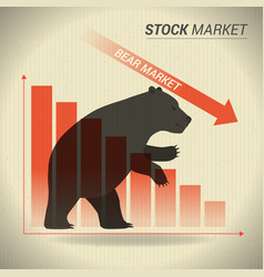 bear market concept presents stock market with vector image