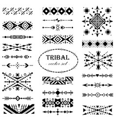 black-and-white tribal set of design elements vector image