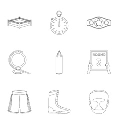 Boxing set icons in outline style Big collection vector image vector image