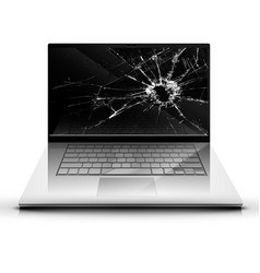 Broken screen of a laptop vector