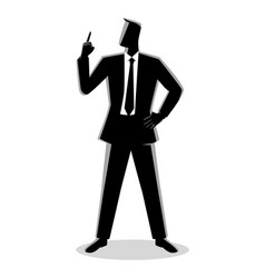 businessman with a finger pointed up vector image