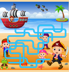 can you help the pirate to find his ship vector image vector image