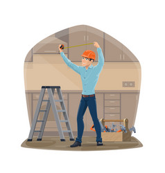 Carpenter or handyman repair work tools vector