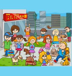 cartoon kids with dogs in the city vector image