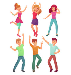 Cartoon people dance adult persons smiling vector
