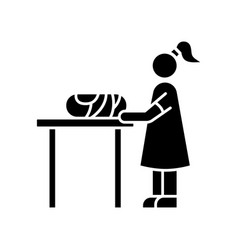 Changing table black glyph icon restroom for mom vector