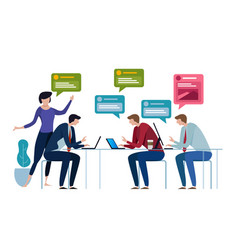 Chat group speech bubble business people working vector