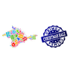 christmas sale composition of mosaic map of crimea vector image