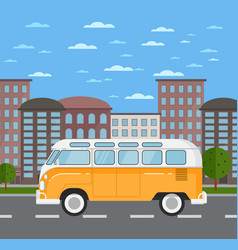 classic retro bus in urban landscape vector image