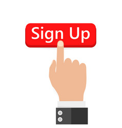 Click to sign up button icon vector