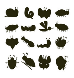 Colorful insects silhouette icons isolated vector