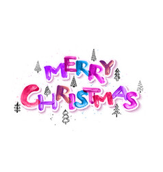 Colorful watercolor merry christmas brush vector