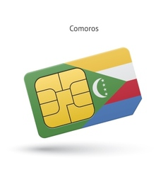 Comoros mobile phone sim card with flag vector