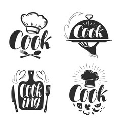 cook chef logo or label for design vector image