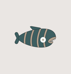 Cute cartoon piranha with sharp teeth vector