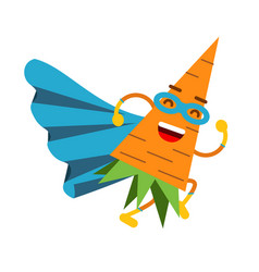 Cute cartoon smiling carrot superhero in mask and vector