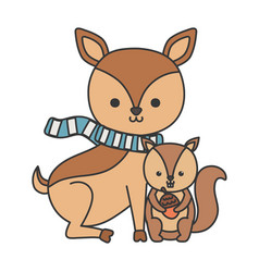 cute deer with scarf and squirrel holding acorn vector image