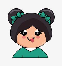 cute japanese doll kawaii style vector image vector image