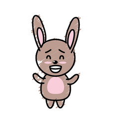 Cute rabbit wild animal with face expression vector