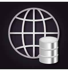 Data center and global icon Technology design vector