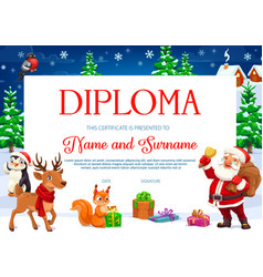 Diploma or certificate with christmas characters vector