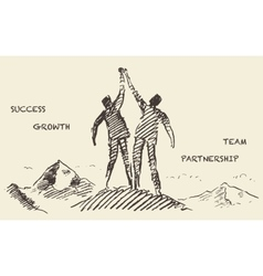 Drawn success teamwork partnership concept vector image