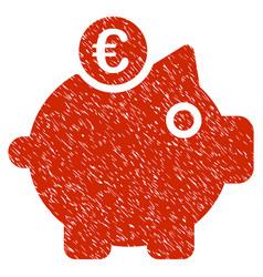 Euro piggy bank icon grunge watermark vector