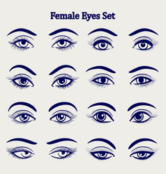 Female eyes sketch set vector